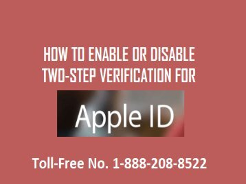 How to Enable Two Steps Verification for Apple id? 1888(208)8522
