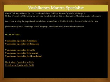 Vashikaran Specialist For Love