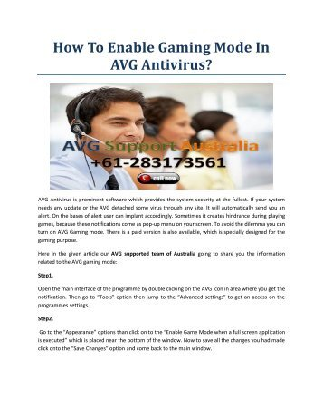 How To Enable Gaming Mode In AVG Antivirus?