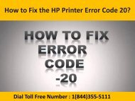 Dial 1(800)576-9647 How to Fix the HP Printer Error Code 20 ?