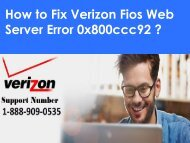 Steps to fix Verizon Web Server Error 0x800ccc92 1-888-909-0535 Toll-free