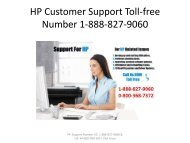 HP Customer Support Toll-free Number 1-888-827-9060