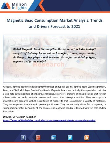 Magnetic Bead Consumption Market Analysis, Trends and Drivers Forecast to 2021