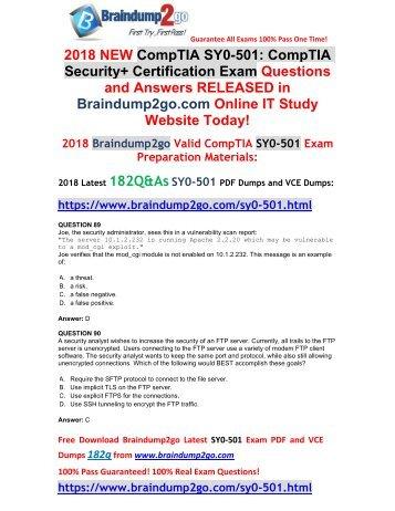 2018 Version SY0-501 PDF Dumps 182Q&As Free Share(Q89-Q99)
