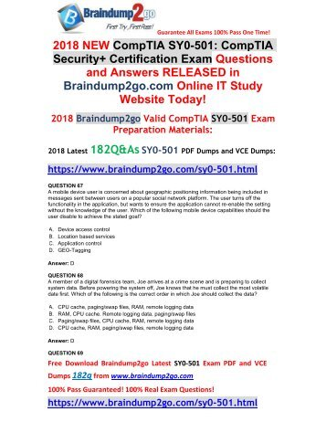 2018 Version SY0-501 VCE and SY0-501 PDF Dumps 182Q&As Free Share(Q67-Q77)