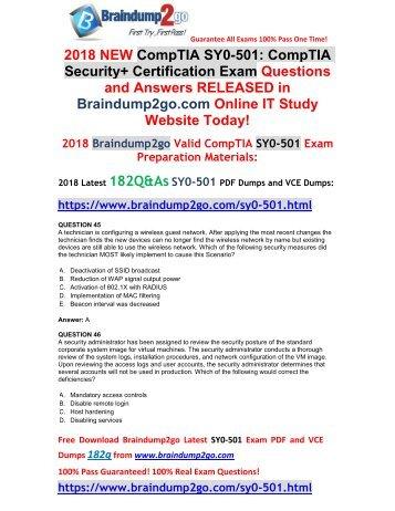 2018 Version SY0-501 VCE Dumps 182Q&As Free Share(Q45-Q55)