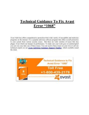 "Technical Guidance To Fix Avast Error ""1068"""