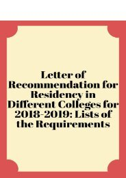 Letter of Recommendation for Residency in Different Colleges for 2018-2019: Lists of the Requirements