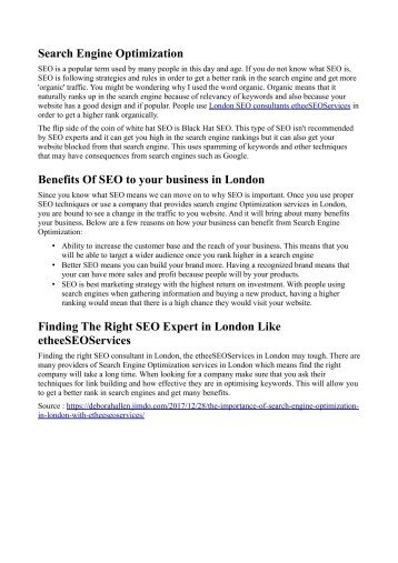 Importance of SEO in London