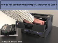 Fix Brother Printer Paper Jam Error no Jam by dialing 18002138289