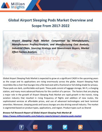Global Airport Sleeping Pods Market Overview and Scope From 2017-2022