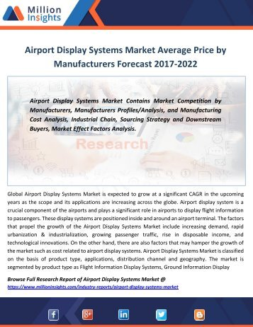 Airport Display Systems Market Average Price by Manufacturers Forecast 2017-2022