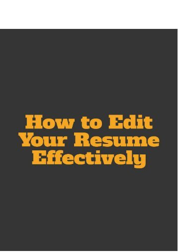 How to Edit Your Resume Effectively