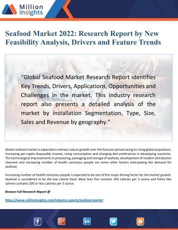 Seafood Market Research Cost, Size, Volume, Value and Analysis Forecast to 2022