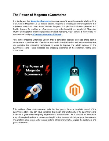 The Power of Magento eCommerce