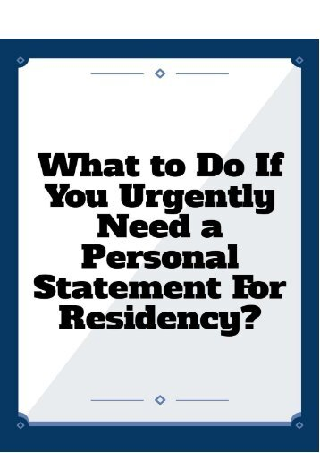 What to Do If I Urgently Need a Personal Statement for Residency?