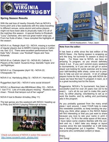 NOVA 7's Schedule Summer 2008 - Northern Virginia Women's ...