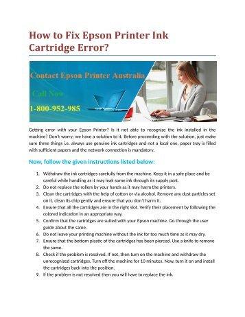 How to Fix Epson Printer Ink Cartridge Error?