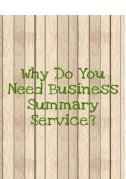 Why Do You Need Writing a Business Summary Service?
