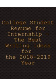College Student Resume for Internship – The Best Writing Ideas for 2018-2019