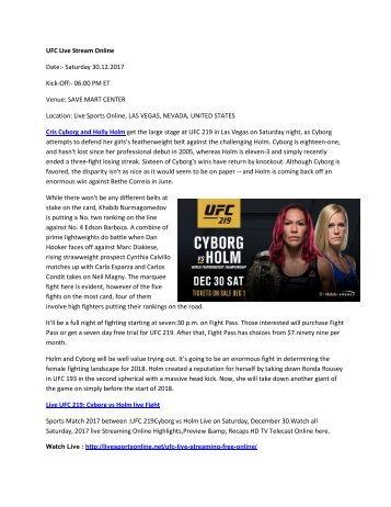 Cyborg vs Holm Live Stream