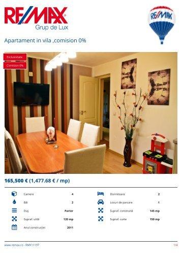 RMX11197 - Apartament in vila ,comision 0% [RO]