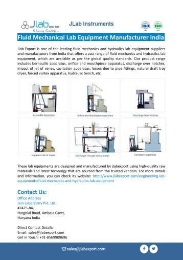 Fluid Mechanical Lab Equipment Manufacturer India