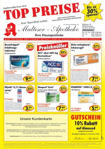 Angebote der Malteser Apotheke in Nürnberg für Januar
