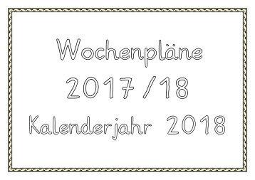 Wochenpläne 2017-18  Jahr 2018
