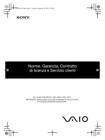 Sony VGN-FZ21MR - VGN-FZ21MR Documents de garantie Italien