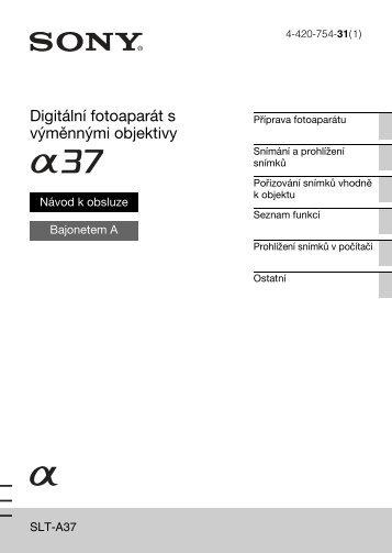 Sony SLT-A37 - SLT-A37 Consignes d'utilisation Tchèque