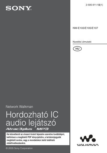 Sony NW-E103 - NW-E103 Mode d'emploi Hongrois