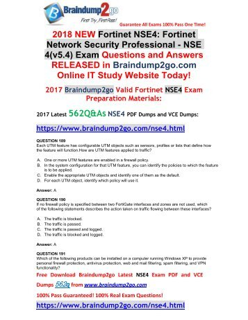 [2018-January-Version]New NSE4 PDF and NSE4 VCE Dumps 562Q&As Free Share(Q189-Q199)