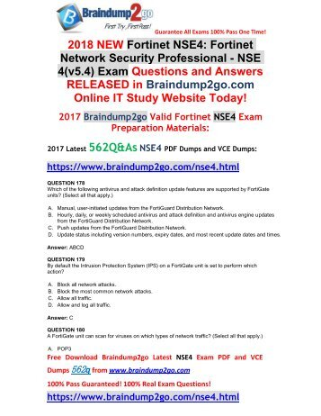 [2018-January-Version]New NSE4 VCE and PDF Dumps 562Q&As Free Share(Q178-Q188)