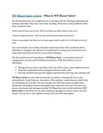 WP Blazer Suite review and WP Blazer Suite $22,700 Bonus