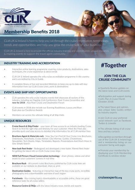 CLIA 2018 Travel Agent Membership 2018 v 01