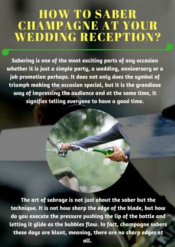 How to Saber Champagne at Your Wedding Reception_