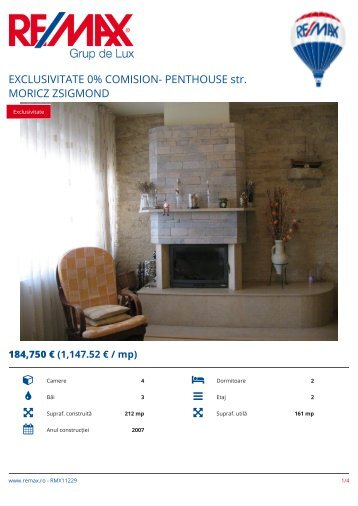 RMX11229 - EXCLUSIVITATE 0% COMISION-  PENTHOUSE str. MORICZ ZSIGMOND [RO]