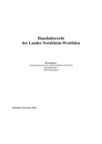 Haushaltsrecht Nordrhein-Westfalen - Finanzministerium NRW
