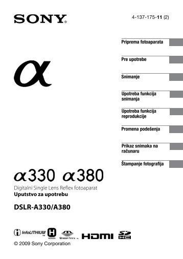 Sony DSLR-A330L - DSLR-A330L Mode d'emploi Serbe
