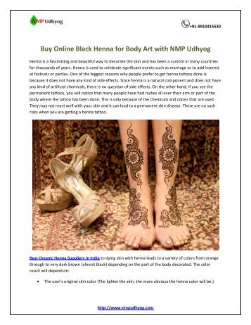 Buy Online Black Henna for Body Art with NMP Udhyog