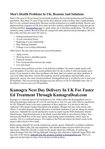 Kamagra Next Day Delivery In UK