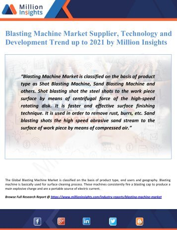 Blasting Machine Market Supplier, Technology and Development Trend up to 2021 by Million Insights