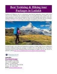 Best Trekking & Hiking Tour Packages in Ladakh