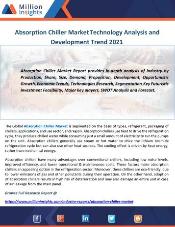 Absorption Chiller Market Technology Analysis and Development Trend 2021