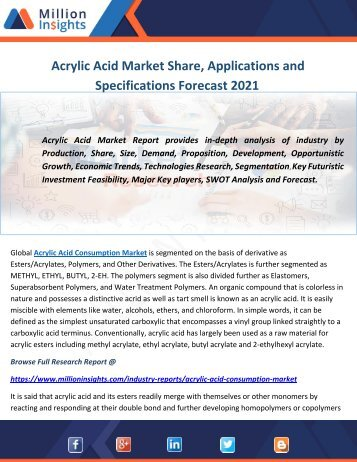 Acrylic Acid Market Share, Applications and Specifications Forecast 2021
