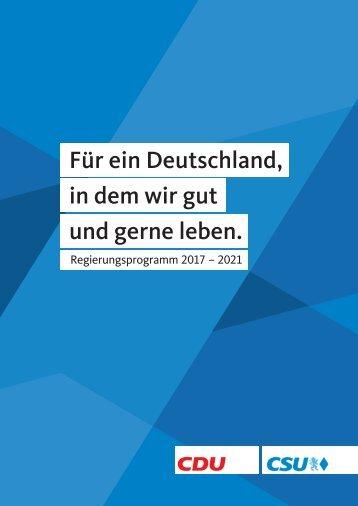 CDU Regierungsprogramm Bundestagswahl 2017
