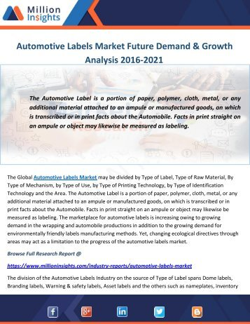 Automotive Labels Market Future Demand & Growth Analysis 2016-2021