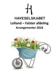 Årsprogram 2018 Haveselskabet, Lolland-Falster