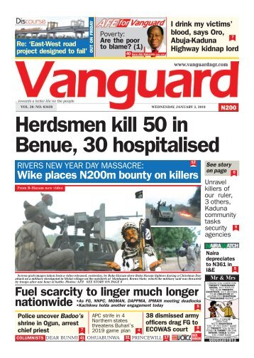 03012018 - Herdsmen kill 50 in Benue, 30 hospitalised